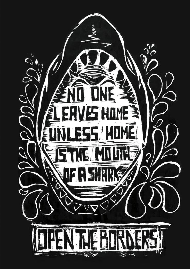 """""""No one leaves home unless/home is the mouth of a shark."""" Warsan Shire    My representation of Warsan Shire's poem, engraving on linoleum. #refugeeswelcome #opentheborders #noborders #woodcut #blackandwhite #engraving #xilografia #stayhuman"""