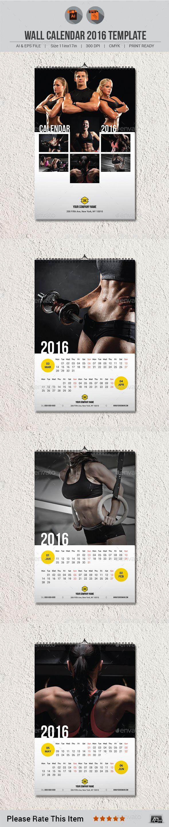 Wall Calendar 2016 Template