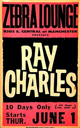 """""""Ray Charles - Zebra Lounge."""" Fantastic A4 Glossy Art Print Taken from A Vintage Concert Poster by Design Artist http://www.amazon.co.uk/dp/B0155WTKEO/ref=cm_sw_r_pi_dp_uQs8vb1VCTZY1"""