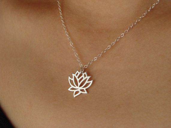 Lotus Flower Pendant Necklace in Silver, Wedding necklace, Bridesmaid gift on Etsy, $26.00