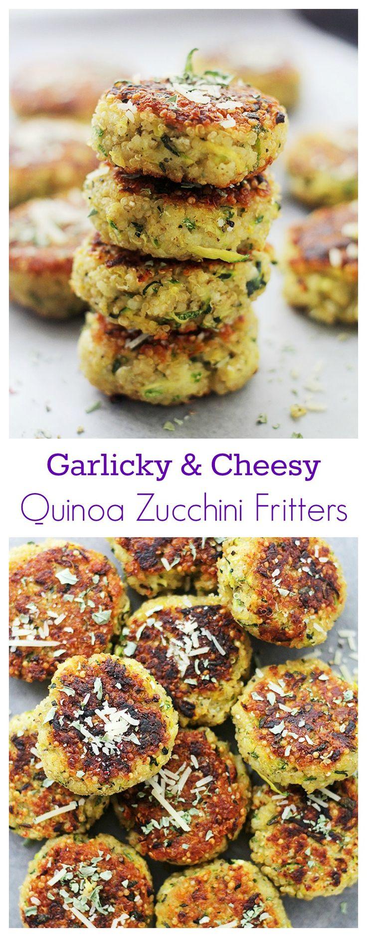 Garlicky & Cheesy Quinoa Zucchini Fritters | Recipe