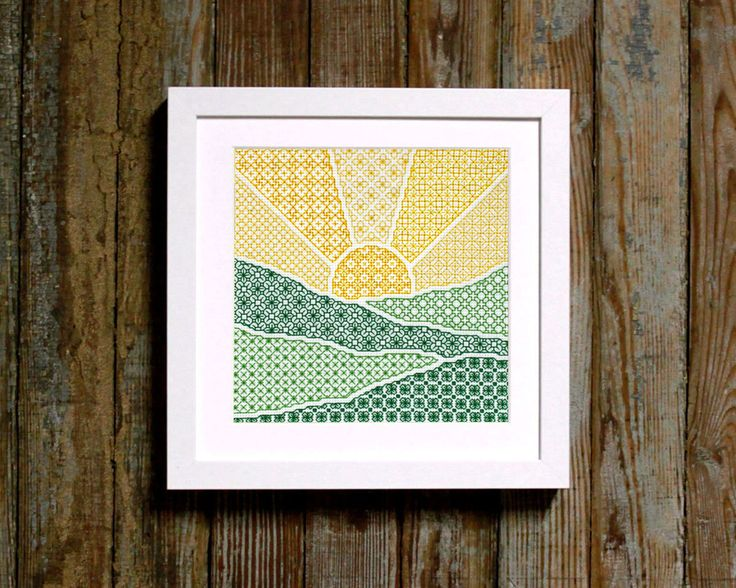 blackwork sunrise pattern diy modern pdf by ModernNeedleworks