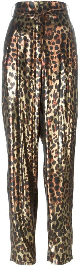 Lanvin metallic leopard trousers