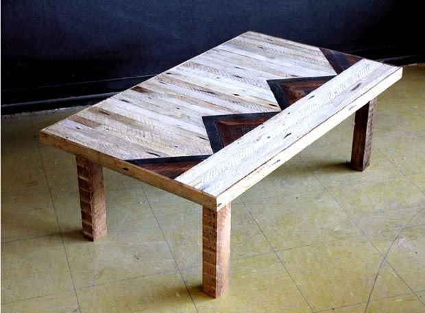 table basse patchwork bois