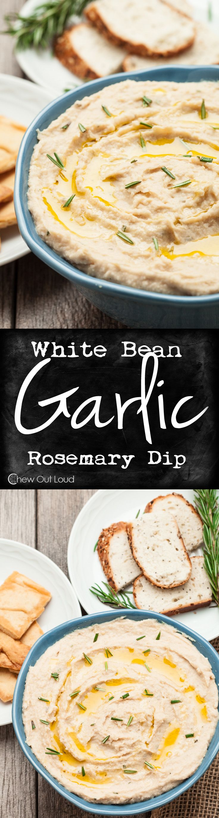 White Bean Garlic Dip - Smooth, creamy, healthy, and gluten-free. Guilt-free appetizer/snack for any party. Great as a sandwich spread, too. Garlic makes this white bean dip amazing! www.chewoutloud.com