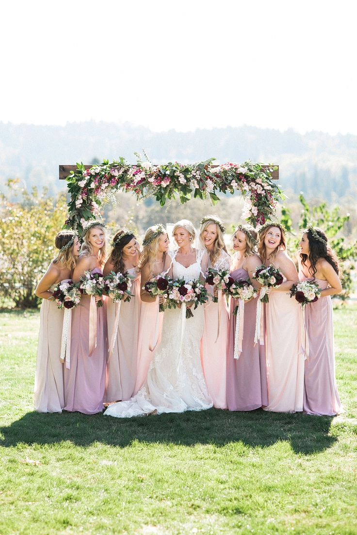 Pale pink ombre bridesmaid dresses.  Photography : Sweetlife Photography Read More on SMP: http://www.stylemepretty.com/oregon-weddings/west-linn/2016/04/05/an-1887-farmhouse-played-host-to-this-rustic-garden-wedding/