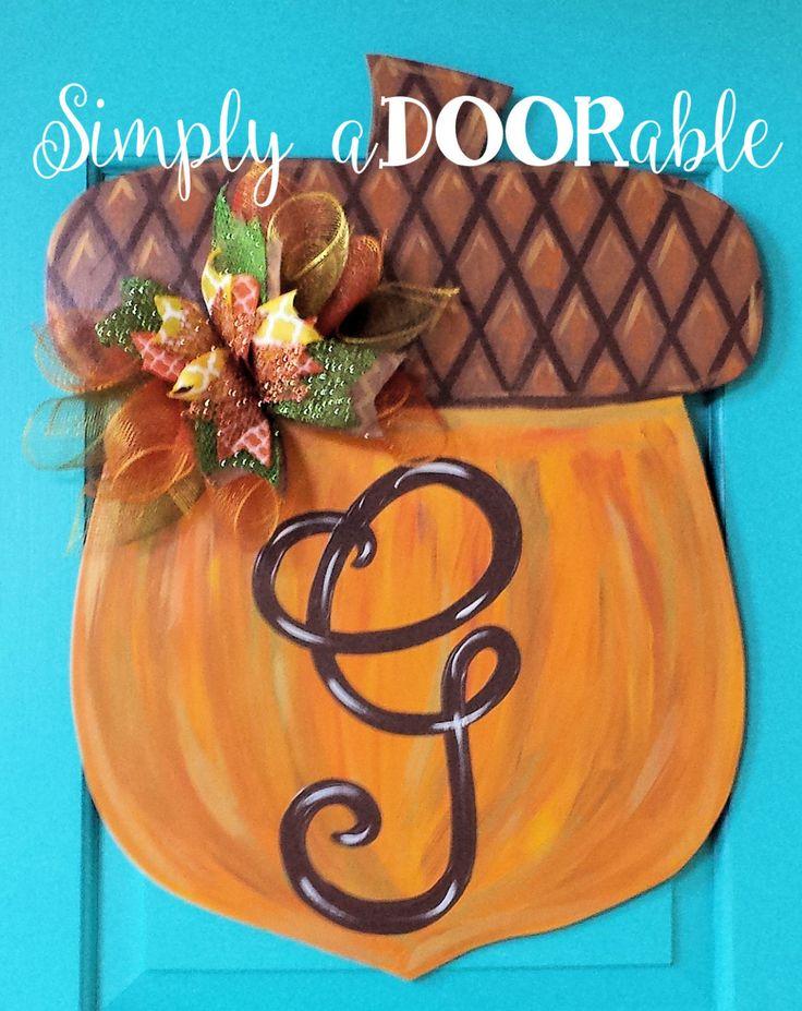 Rustic Acorn Wood Door Hanger by Simply aDOORable. Acorn Door Hanger, Fall Door Hanger, Acorn Wreath, Thanksgiving Door Decor, Fall Decor by SimplyaDOORableNC on Etsy