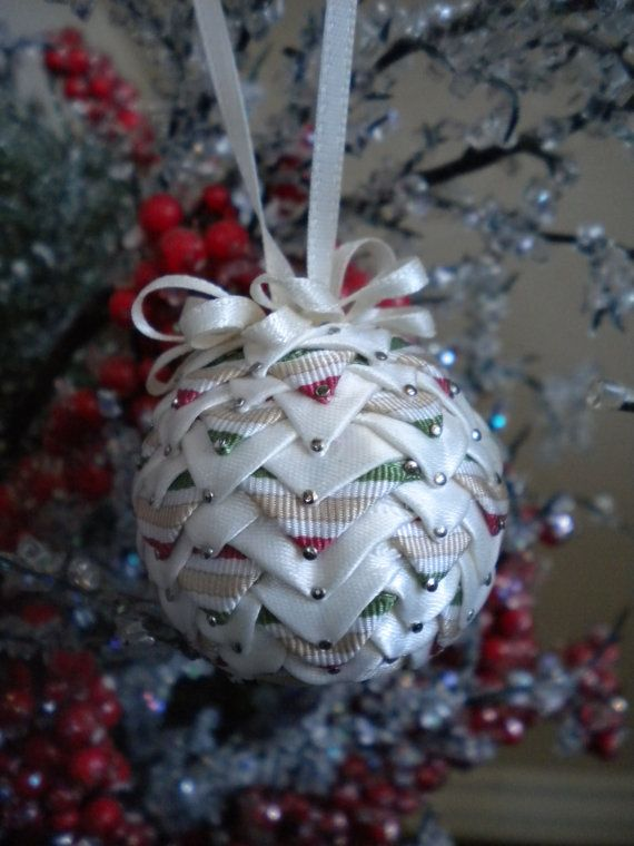 small quilted Christmas ball ornament by TheWoolFish on Etsy