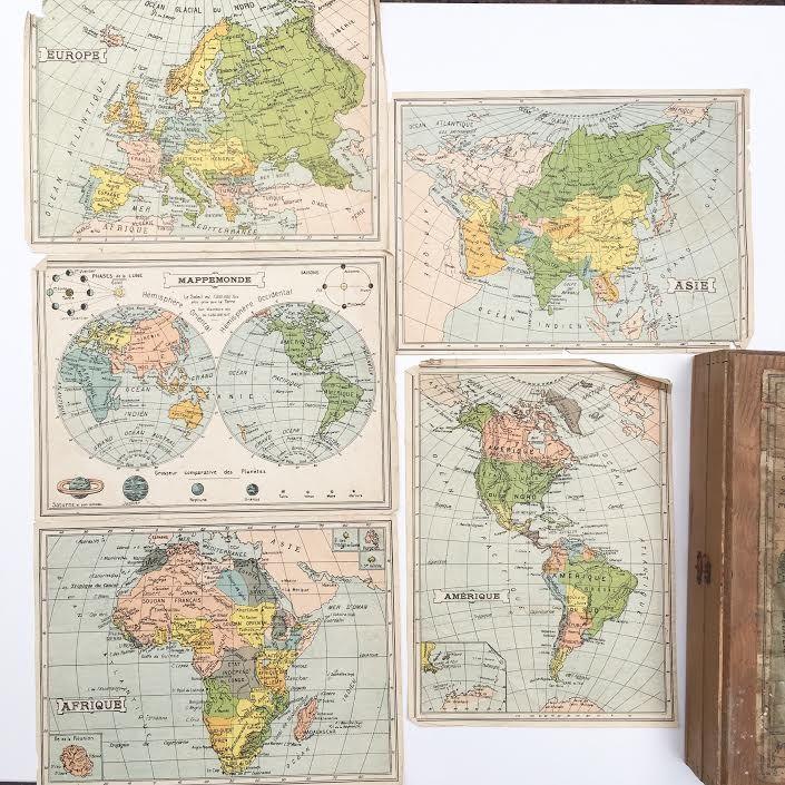 Orangevertevintage — Boite de Cubes Mappemonde Ancienne 1885 Atlas Géographique