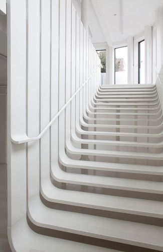 Lovely stairs - Pop-Up hair salon by Zaha Hadid at London Design Week