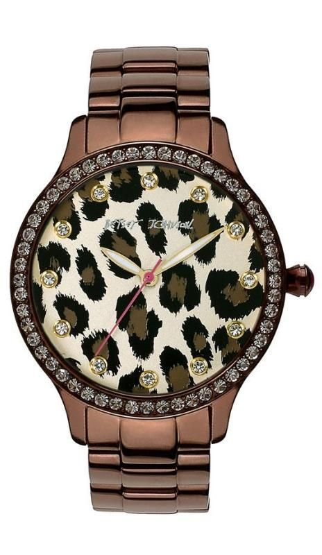 Perfect for fall: Betsey Johnson leopard print watch with some bling