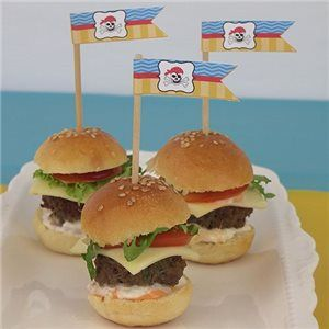 Pirate Mini Burgers #hamburger #panini #bambini #compleanno #festa #feste #party #pirati #pirata #pirate #peterpan