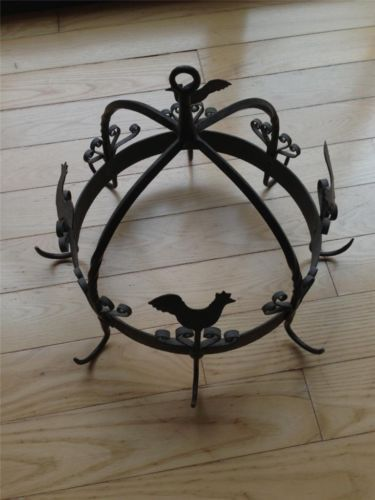 Tall x wide 1980s outstanding folky wrought iron herb utensil circular rack w - Wrought iron silverware ...