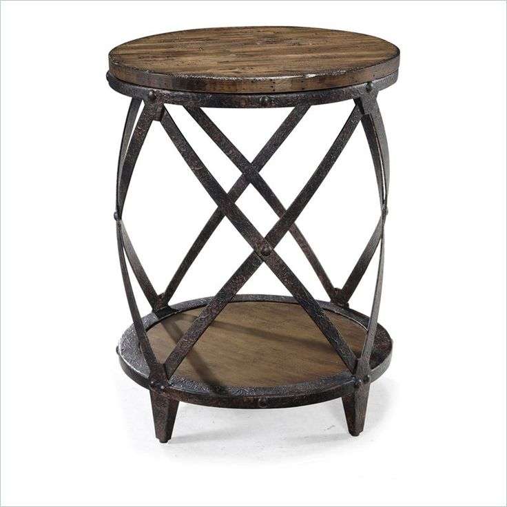 Magnussen Pinebrook Round Accent Table In Distressed Pine End TablesSide ChairsLiving Room