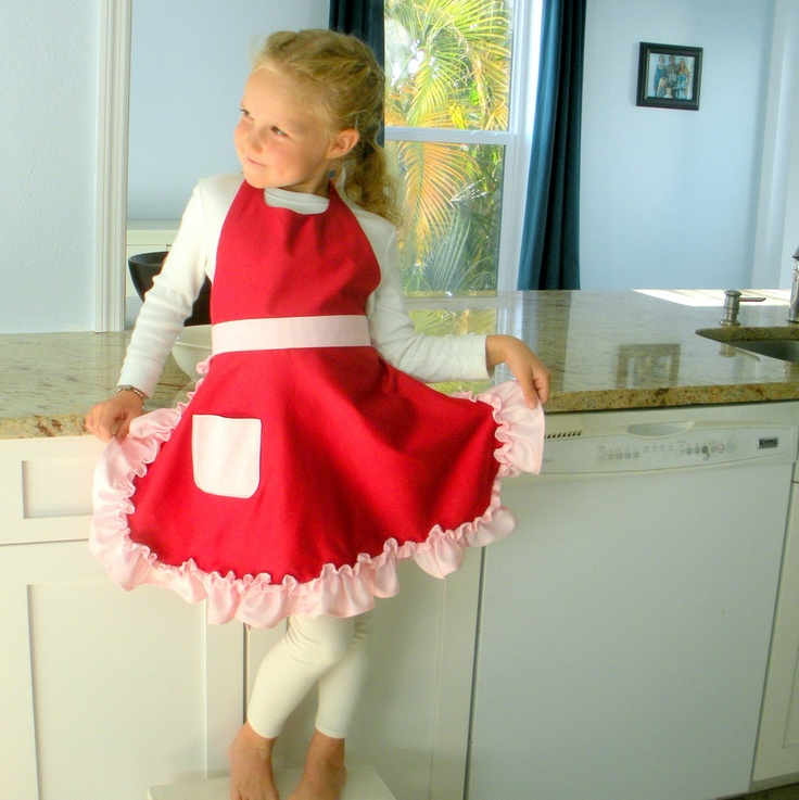 Girl's Red Apron - Organic Cotton, Eco Friendly Kids - Red with Pink Ruffle - CLEARANCE - Ready to Ship. $39.99, via Etsy.  Both