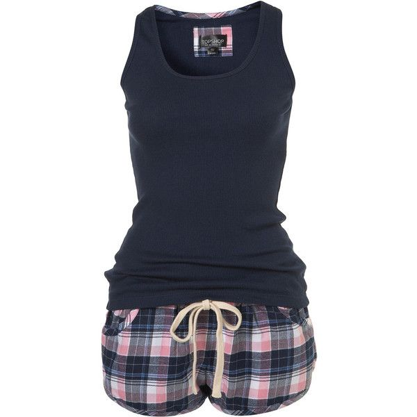 Check Vest and Short (160 BRL) ❤ liked on Polyvore featuring intimates, sleepwear, pajamas, pijamas, pyjamas, women, cotton pajamas, cotton sleepwear, cotton pajama set and short sleepwear