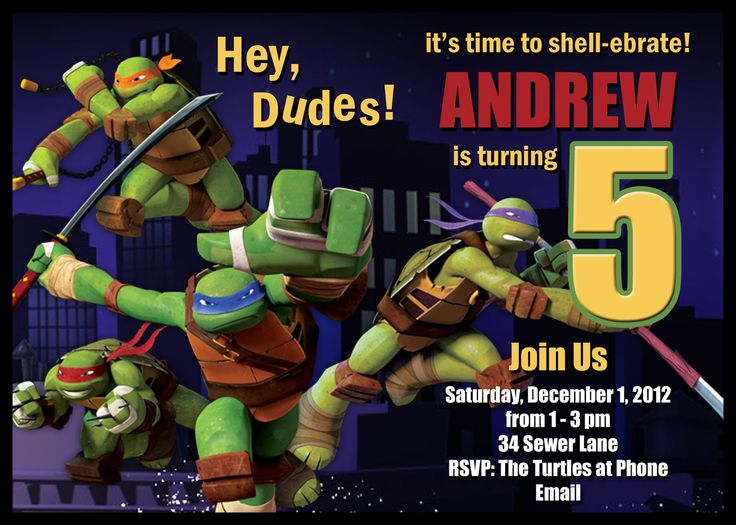 Download Free Template Teenage Mutant Ninja Turtle Birthday Party