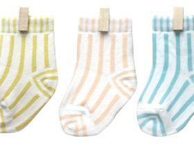 Petites Pattes Pastel Candy Stripe Sock Box - Box Pink