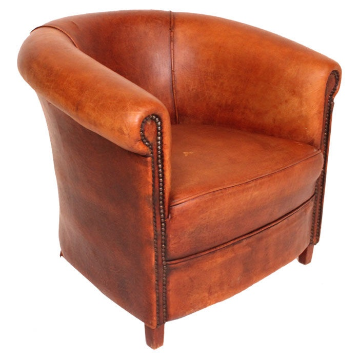 Vintage English Leather Barrel Chair