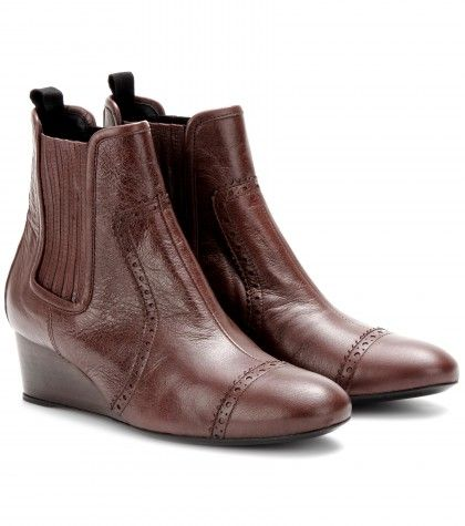 #Balenciaga Leather wedge brogue ankle boots