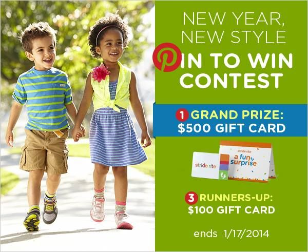 Enter our New Year, New Style Pin to Win contest for a chance to win a grand prize $500 #striderite gift card!  Contest ends 1/17