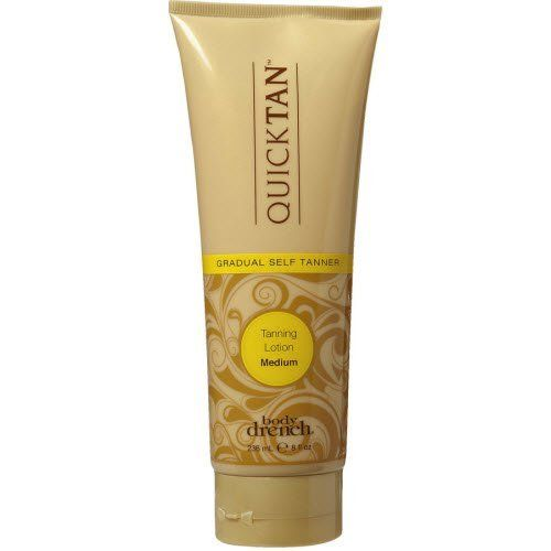 Body Drench Quick Tan Gradual Tanning Lotion Medium 8 oz by Body Drench. $12.49. Tan gradually develops. Year round sun-kissed glow. Moisturizers for a gradual tan. Body Drench Quick Tan Gradual Self Tanning Lotion is the year-round solution to a sun-kissed glow.. Save 31% Off!