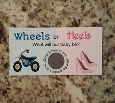 20 Wheels or Heels Gender Reveal Scratch Off Tickets by msmemories101 on Etsy