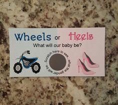 20 Wheels or Heels Gender Reveal Scratch Off Tickets by msmemories101 on Etsy