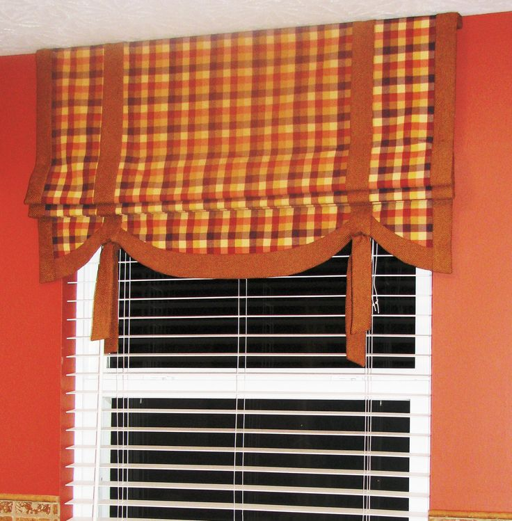 Mock Roman Shade With Fabric Ties Over Kitchen Sink