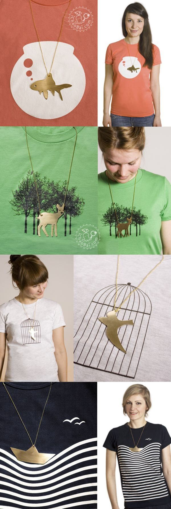 Fun combination of t-shirt and necklace design