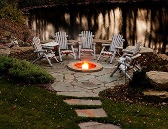 Lakeside Fire Pit, Rustic Fire Ring Fire Pit Blue Ridge Landscaping Holland, MI