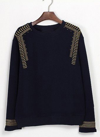 Black Long Sleeve Navy Embroidery Sweatshirt #SheInside