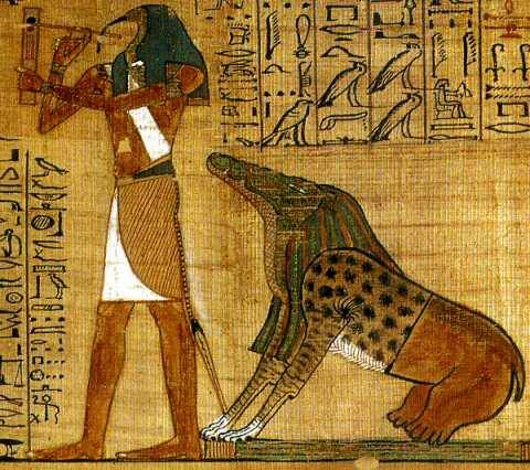 Ammut awaits the judgment of the heart while Thoth records the result.