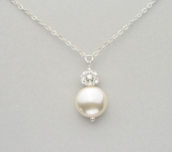Perle Brautschmuck, Swarovski Coin Pearl und Strass Ball Anhänger Halskette, handgemachter Hochzeitsschmuck für die Braut   – Jewellery fashion