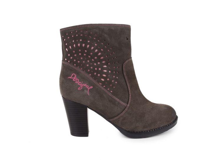 Desigual - Kožené polokozačky na vysokém podpatku SHOES ISABEL / šedá | obujsi.cz - dámská, pánská, dětská obuv a boty online, kabelky, módní doplňky