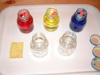 Color Mixing- experiment with 5 little jars of water, food coloring- red, blue, or yellow to 3, & three eyedroppers.