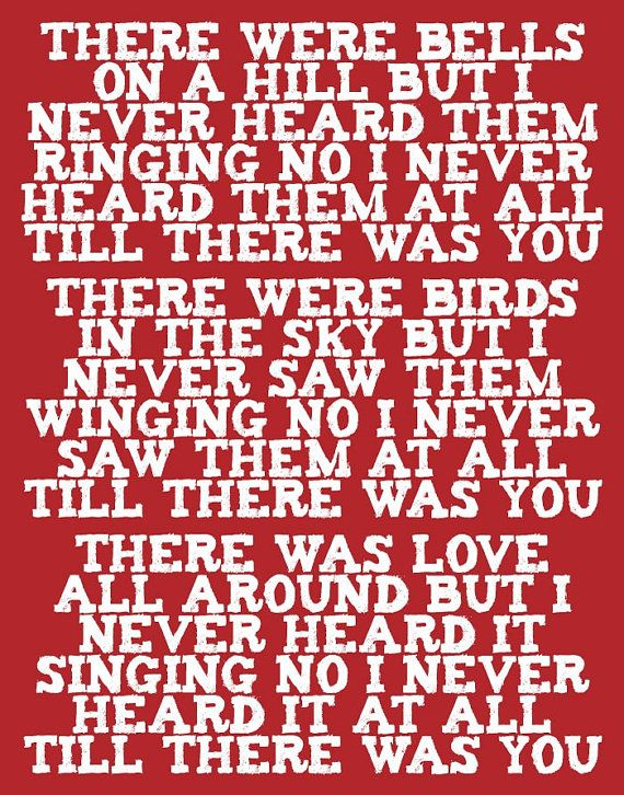 Valentine The Beatles Typography Art Red & White Til by colorbee, $20.00>>> The Beatles did a cover of this song *TIL THERE WAS YOU*  . It was from the the musical entitled The Music Man