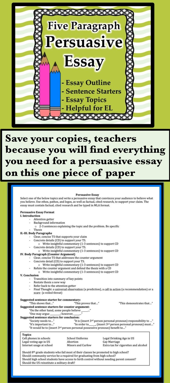 17 best images about persuasion teaching lesson a one pager that contains everything even esl support for a persuasive essay