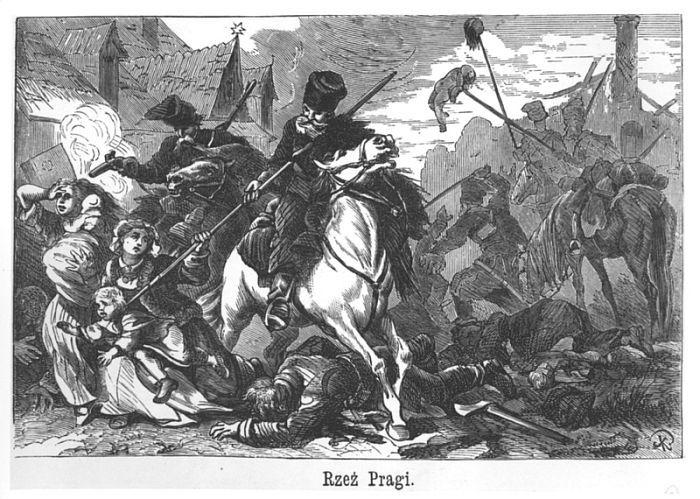Rzeź Pragi (Slaughter of Praga), woodcut after Juliusz Kossak (19th century) 1