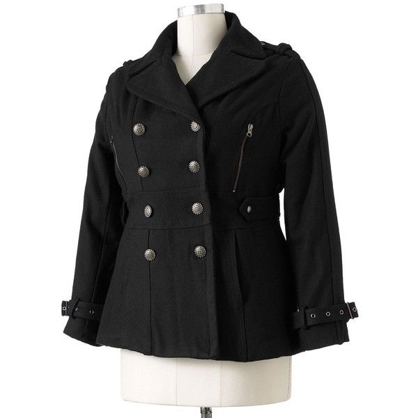 Plus Size Excelled Military Wool Peacoat ($90) ❤ liked on Polyvore featuring plus size women's fashion, plus size clothing, plus size outerwear, plus size coats, black, plus size, double-breasted pea coat, long pea coat, wool pea coat and double breasted wool coat