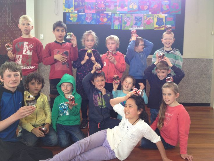 Science Day - some of the Hit Play kids after a hot cold experiment with coke cans....