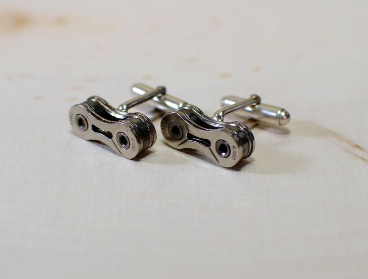 Sterling silver bicycle chain cuff links for the passionate cyclist - product images  of