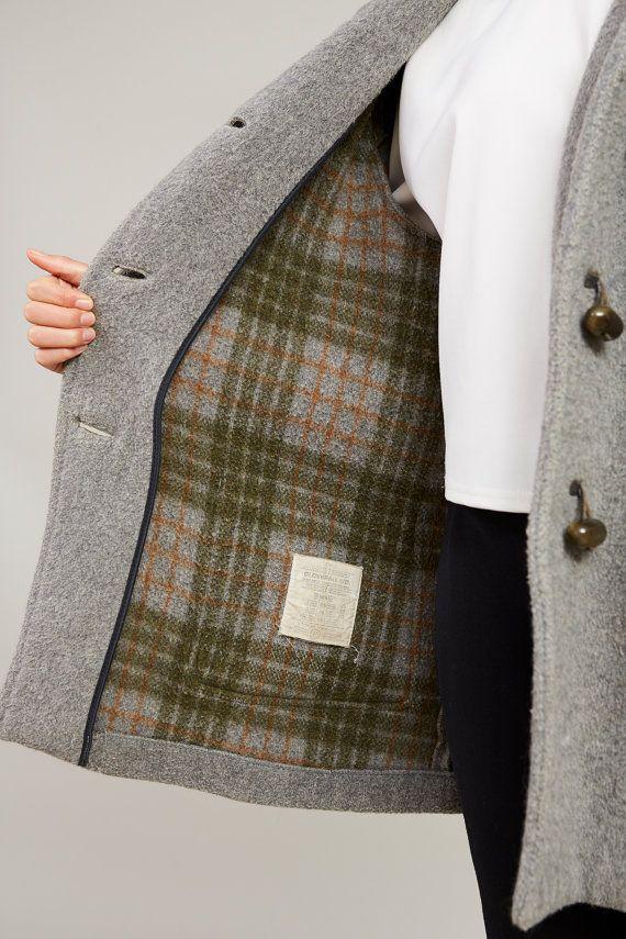 1950s Gloverall Pale Grey Felt Wool Parka M/L
