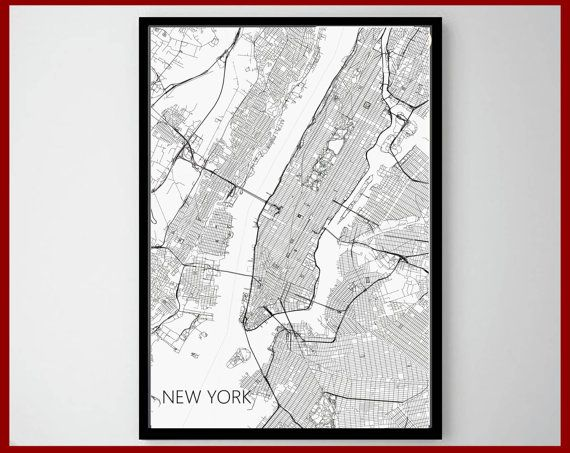 22 best world map art print images on pinterest maps posters new york print nyc street map print ny maps black and white city poster minimal wall art home decor modern art street maps map of usa world map gumiabroncs Images
