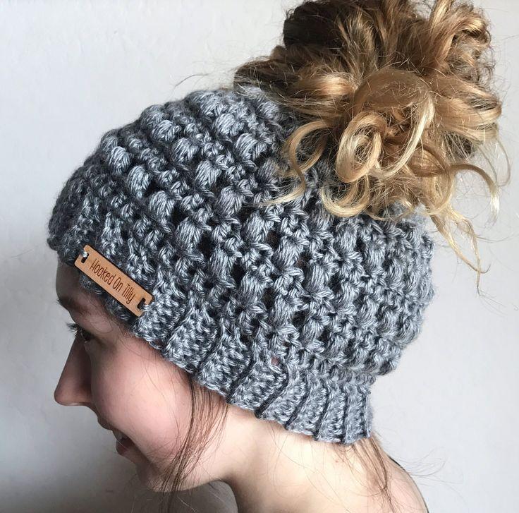 Brenna Bun Hat - Ponytail Beanie - Crochet - Messy Bun Beanie - Bun Hat - Knit messy bun beanie - crochet hat by HookedOnTilly on Etsy
