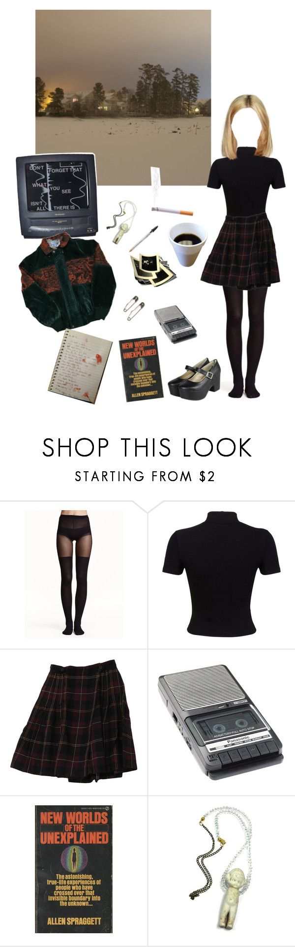 """""""Twin peaks theme"""" by sweetaquarius ❤ liked on Polyvore featuring Rick Owens Lilies, H&M, Miss Selfridge, Rena Rowan, Panasonic and Eclectic Shock"""