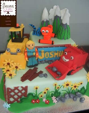 Bob the Builder Novelty cake with handmade cake toppers Scoop, Muck, Dizzy, Bob the Builder and Pilchard the cat.  http://www.preciousgemscakes.com.au
