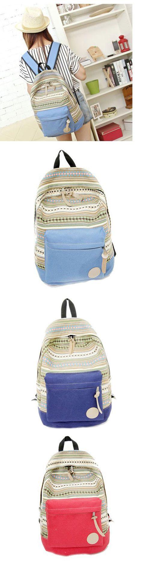 2017 New Arrival Fresh Folk Geometry Striped Canvas College Backpack, backpacks for girls, backpack purse, pink backpack, mini backpack, cool backpacks, backpacks for women, leather backpack, travel backpack, laptop backpack, school backpacks