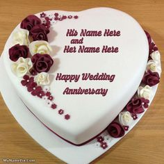 Write your name on Heart Wedding Anniversary Cake picture in beautiful style. Best app to write names on beautiful collection of Anniversary Cakes pix. Personalize your name in a simple fast way. You will really enjoy it.