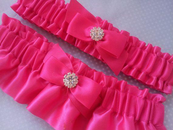 Bright Pink Wedding Garter Set